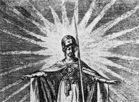Minerva as a symbol of enlightened wisdom protects the believers of all religions (Daniel Chodowiecki, 1791