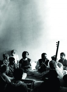 In satsang with Mooralala Marwada during the Malwa Kabir Yatra, 2010 in Lunyakhedi village