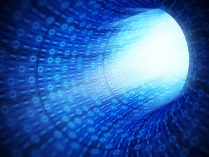 Blue binary code technology tunnel
